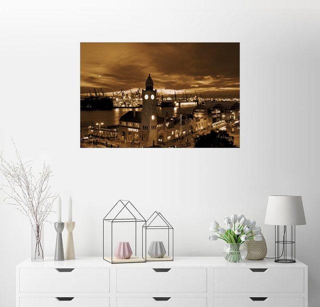 Posterlounge Wandbild - bildpics »Hamburg Hafen Elbe« | Dekoration > Bilder und Rahmen > Bilder | Braun | Holz - Aluminium | Posterlounge