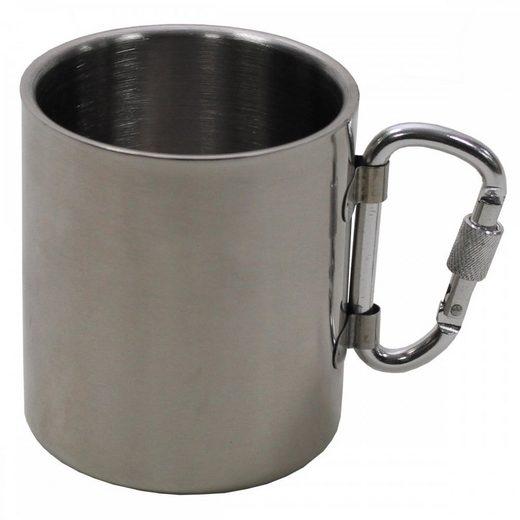 MFH Tasse »Tasse, Edelstahl, Karabiner, doppelwandig, 300 ml,«, Edelstahl
