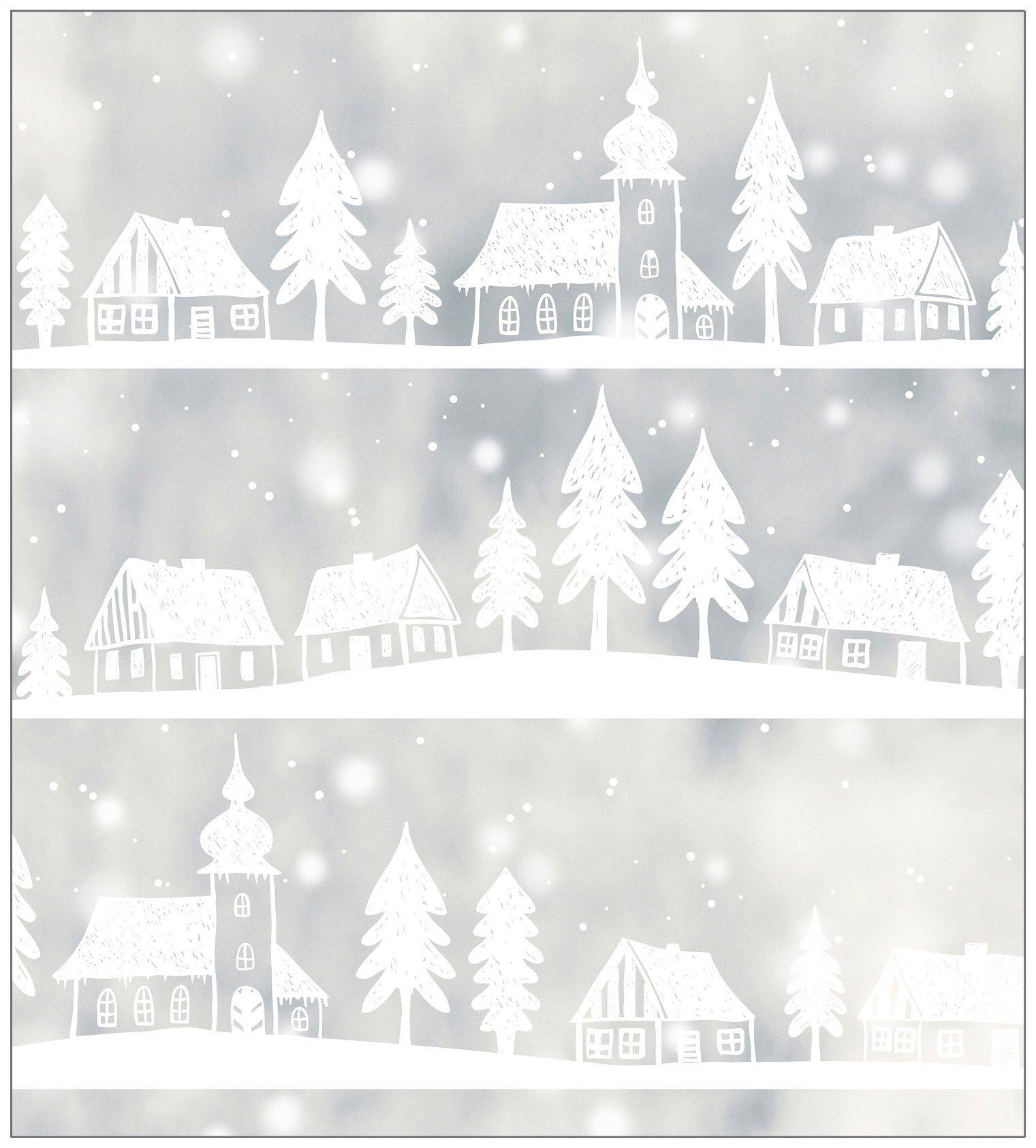 MYSPOTTI Fensterfolie »mySPOTTI look Winter Village white«, 90 x 100 cm, statisch haftend