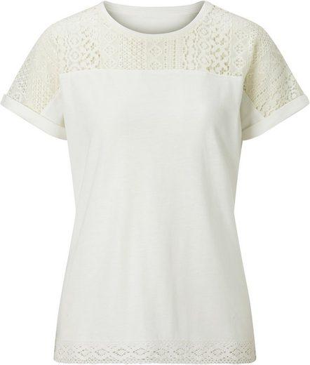 Classic Inspirationen Shirt mit leicht transparentem Spitzen-Einsatz