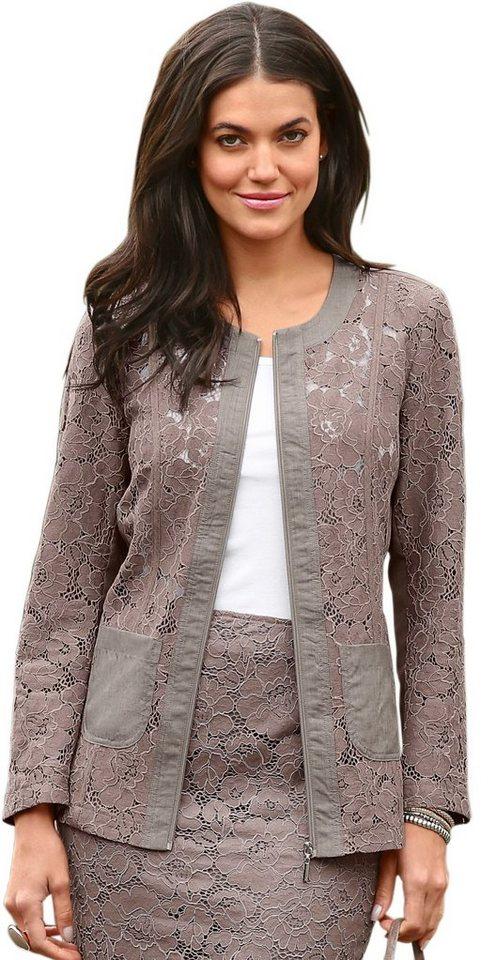 Damen Classic Basics Blazer mit Ärmel aus Spitze braun | 08935267212199
