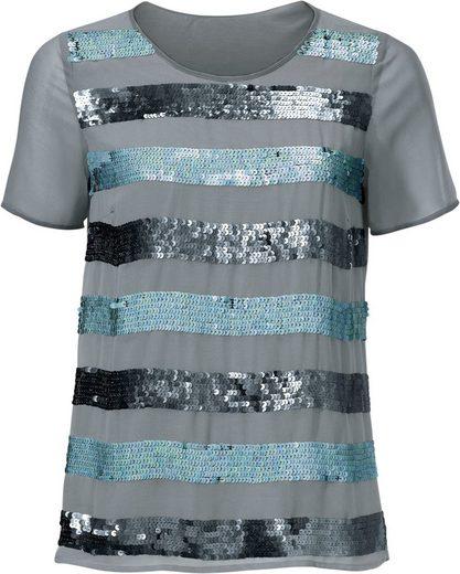 Classic Inspirationen Shirt mit funkelnden Paillettenstreifen