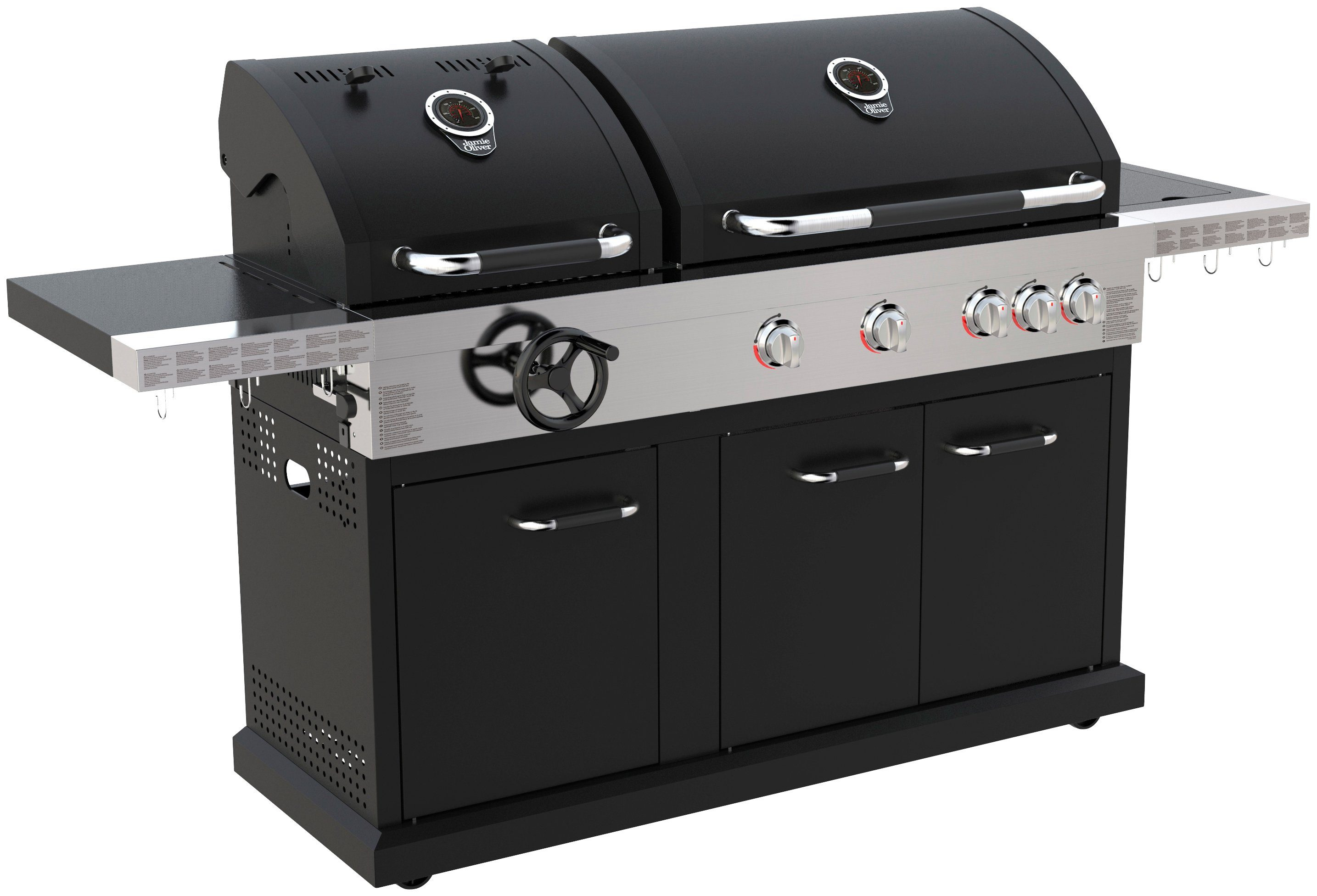 JAMIE OLIVER Gasgrill »BBQ Dual Fuel Pro 4«, Gas- und Holzkohlekombination, BxTxH: 213x60x122 cm