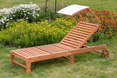 MERXX Gartenliege , Eukalyptus, klappbar, verstellbar, braun, inkl. Dach