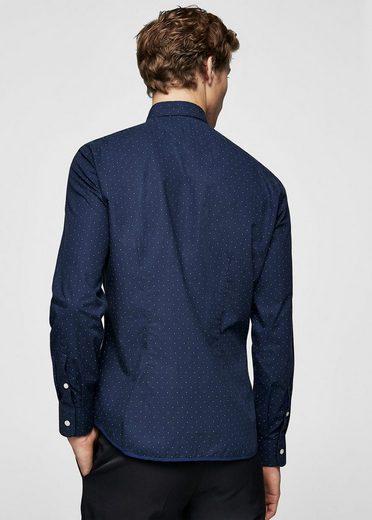 MANGO MAN Slim Fit-Hemd mit gepunktetem Design