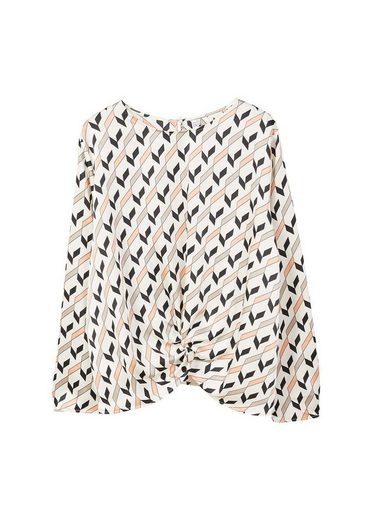 MANGO Gemusterte Bluse mit Knoten