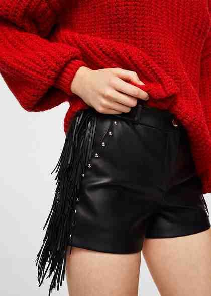 MANGO Shorts mit Fransen und Nieten