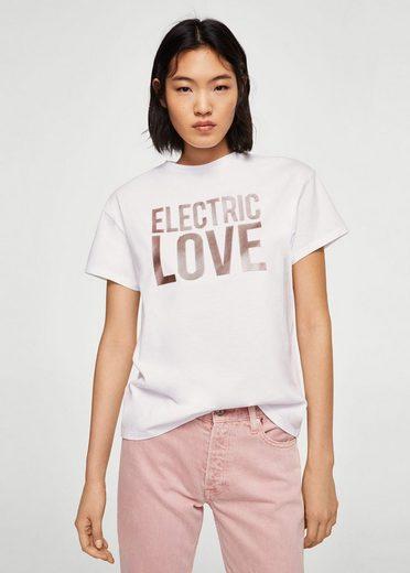 Mango Metallic-shirt With Lettering