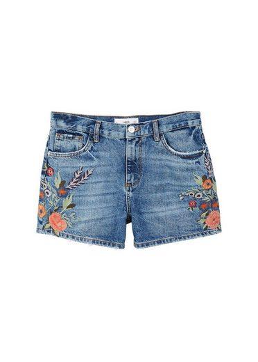 MANGO Shorts mit Blumenstickerei