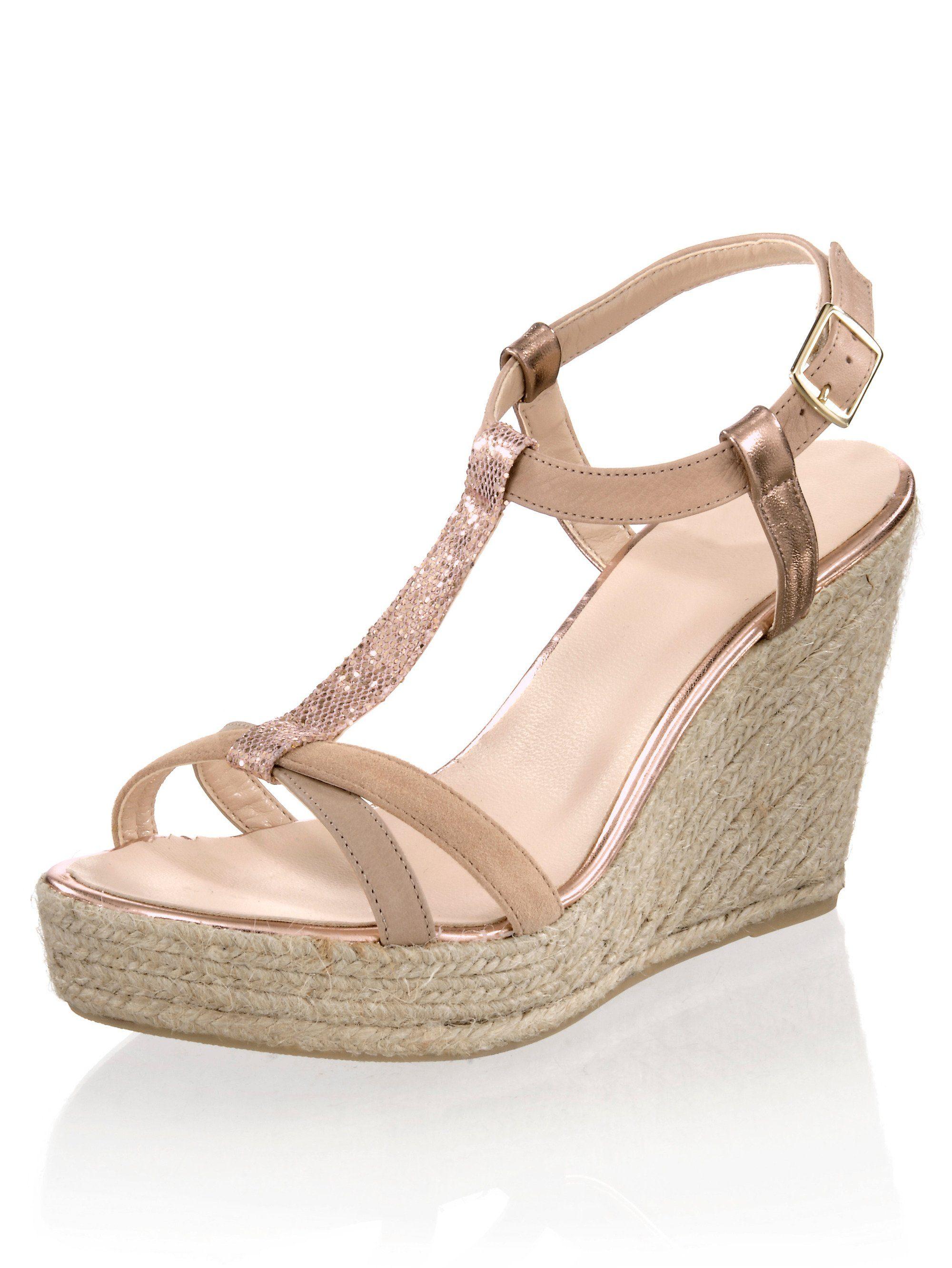 Alba Moda Sandalette mit sommerlichem Keilabsatz  nude
