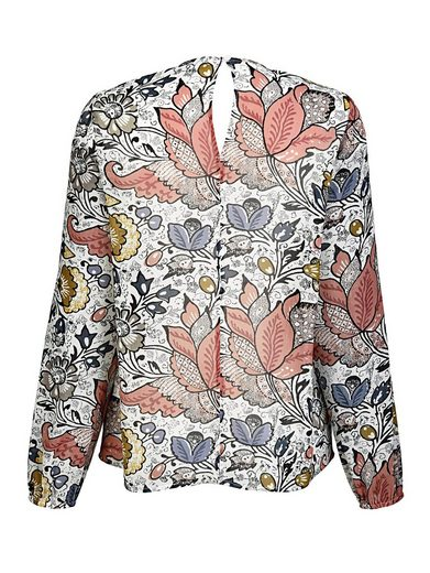 Alba Moda Volantbluse mit konstrastfarbigem Blumendruck