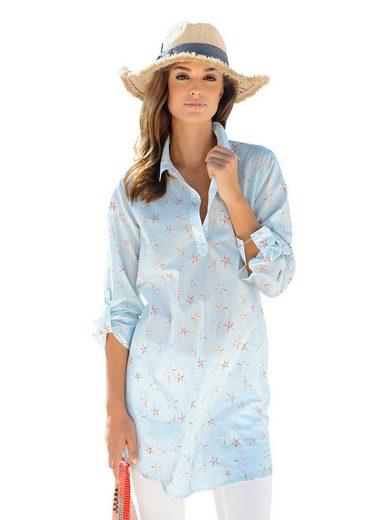 Alba Moda Kleid in zartem Streifendessin mit Seesternen