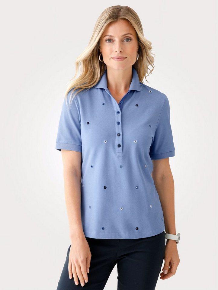 Damen Mona Poloshirt mit Blütenstickerei blau | 04055716327466