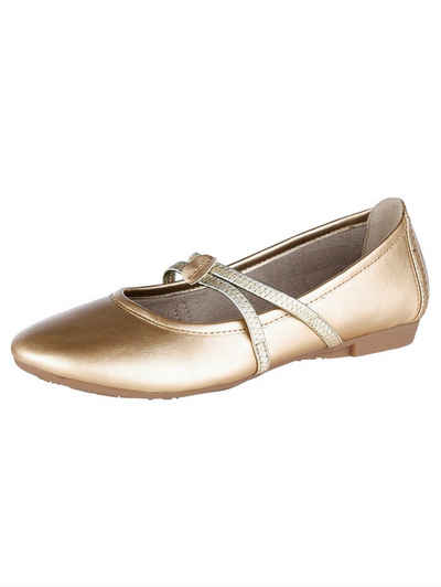 Esprit ESPRIT Perforierter Metallic-Ballerina in Leder-Optik, goldfarben, GOLD