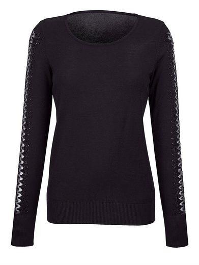 Alba Moda Pullover mit Ausbrenner-Optik am Ärmel