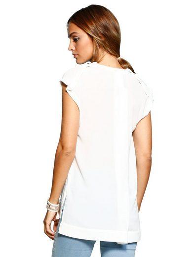 Alba Moda Bluse mit Stickereimotiv und Zierperlen
