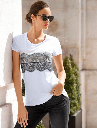 Amy Vermont Shirt mit Spitzendruck und Spitze