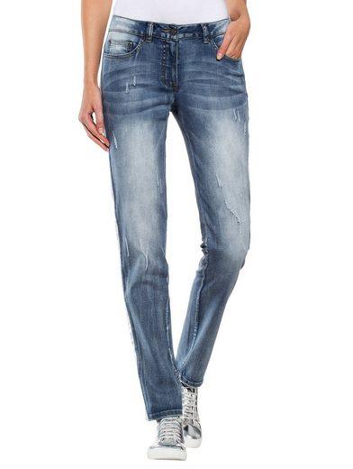 Alba Moda Jeans mit silberfarbenem Paillettenband