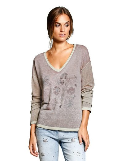 Alba Moda Sweater With Motif From Rhinestones