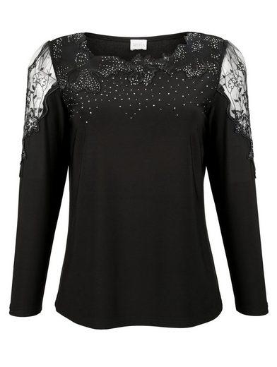 Mona Shirt mit Strass-Steinen und Blumenstickerei