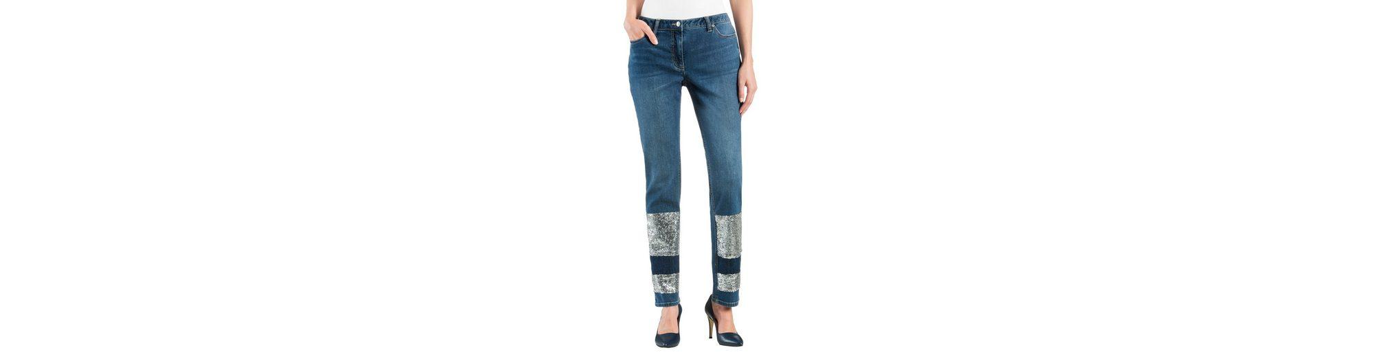 Alba Moda Jeans mit Pailletten in der Vorderhose