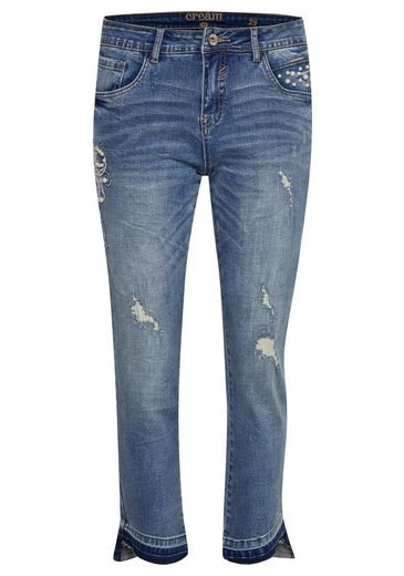 Cream Relax-fit-jeans Cara Riped Croped
