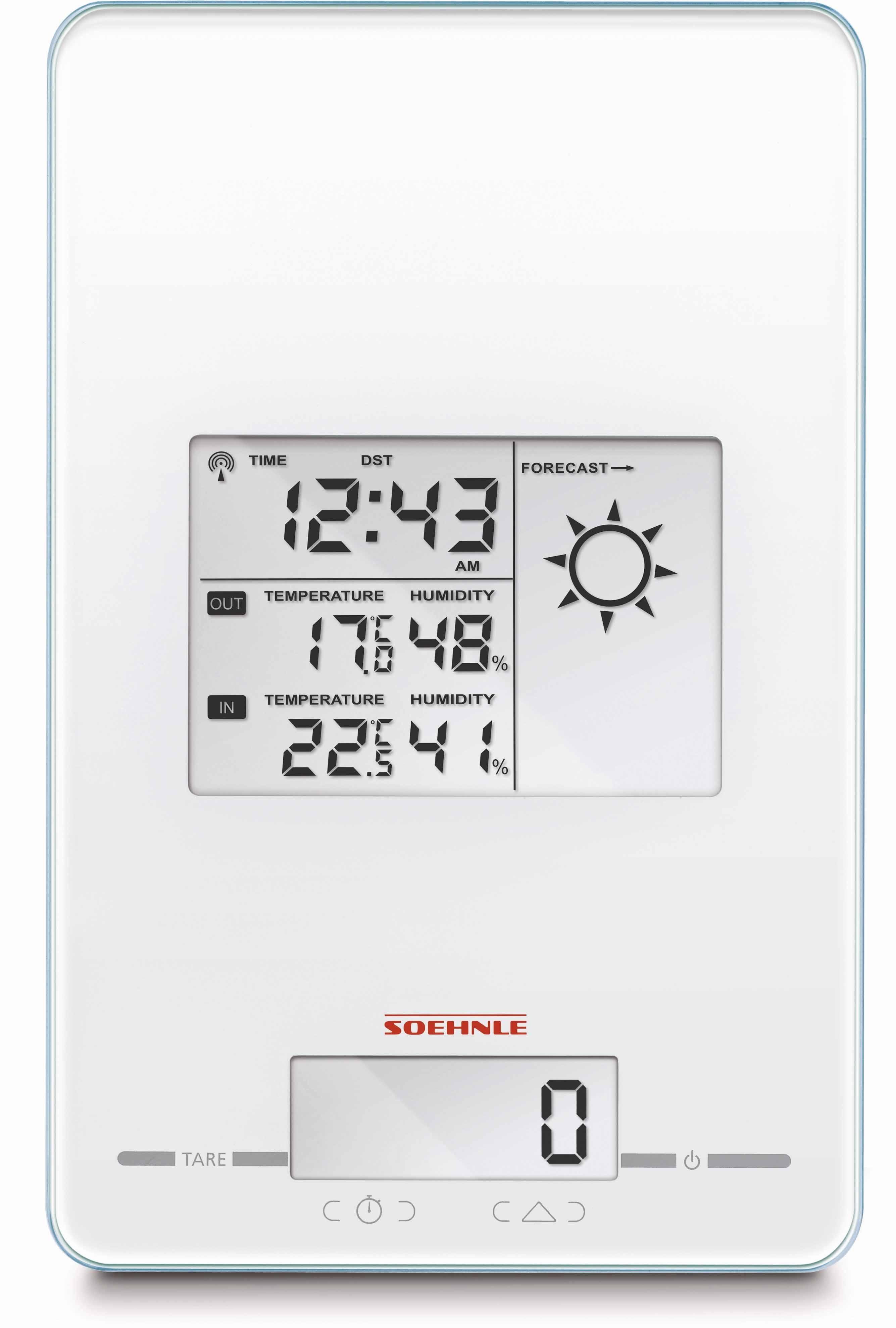 Soehnle Digitale Küchenwaage, Wetterstation, Funkuhr, Timer und Wecker in Einem, »Page Meteo Center«