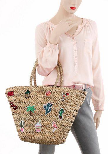 fabrizio® Strandtasche, Korbtasche mit modischen Patches