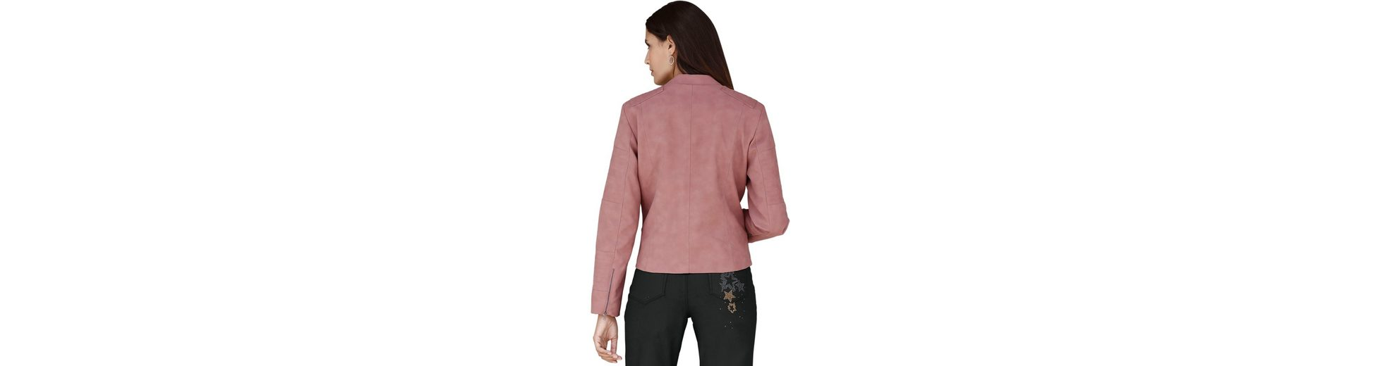 Wo Niedrigen Preis Kaufen Classic Inspirationen Lederimitat-Blazer mit dekorativen Ziersteppungen im Schulterbereich Spielraum Wirklich ModKnn6
