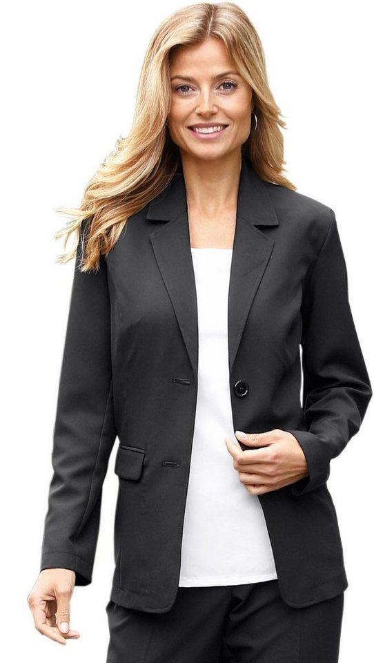 Damen Classic Basics Blazer mit Schulterpolster schwarz | 08935267213691