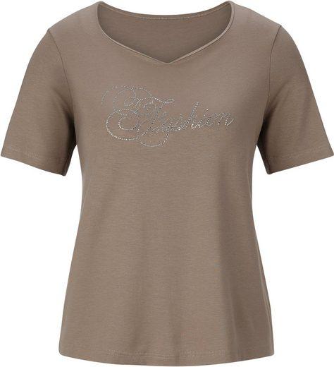 Fair Lady Shirt mit Schriftzug aus funkelnden Glitzersteinen