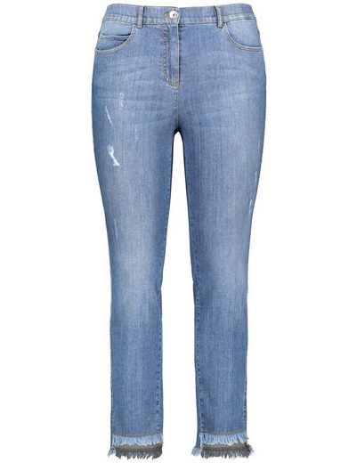 Samoon Hose Jeans lang Destroyed Jeans mit Fransensaum, Betty
