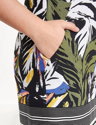 Samoon Kleid Langarm kurz Kleid mit Palmen-Print