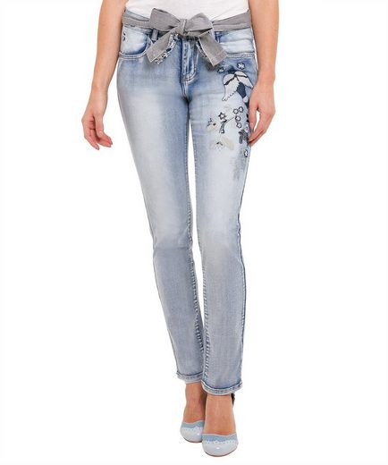 Joe Browns Röhrenjeans Joe Browns Womens Light Wash Applique Skinny Jeans
