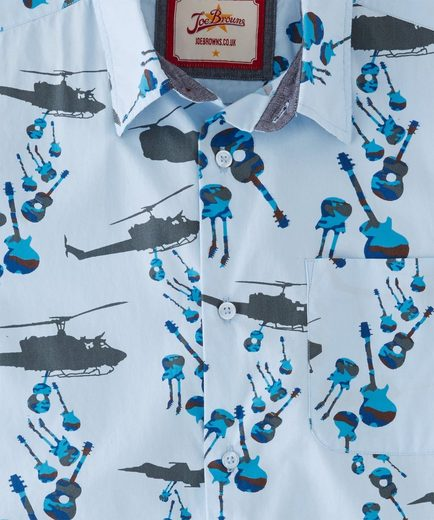 Joe Browns Kurzarmhemd Joe Browns Mens Short Sleeve Casual Shirt with Helicopter Guitar Print