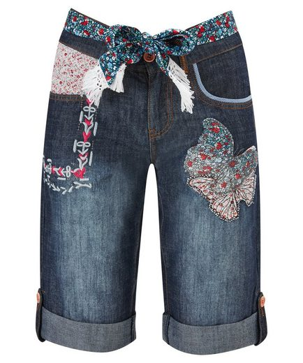 Joe Browns Jeansshorts Joe Browns Womens Applique Boyfriend Shorts with Fabric Belt