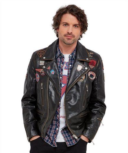 Joe Browns Lederjacke Joe Browns Mens Real Leather Biker Style Zip Up Jacket with Badges