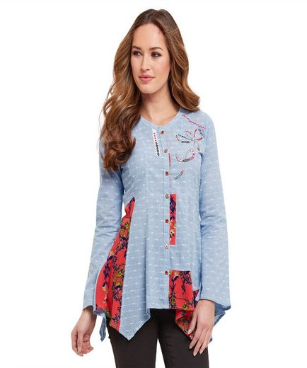 Joe Browns Langarmbluse Joe Browns Womens Long Sleeve Button Up Mix and Match Fabric Blouse