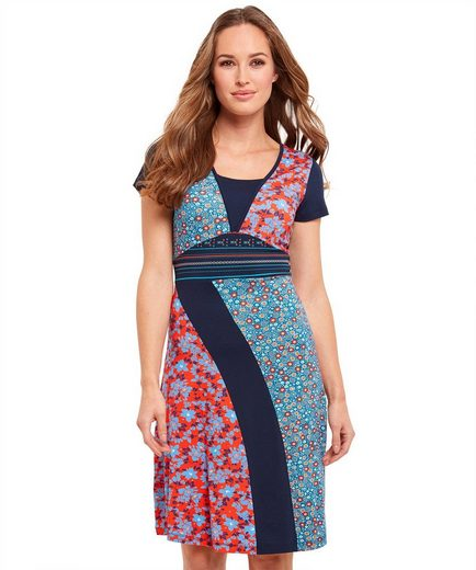 Joe Browns Skaterkleid Joe Browns Womens Short Sleeve Jersey Dress in Mix and Match Fabric Panels