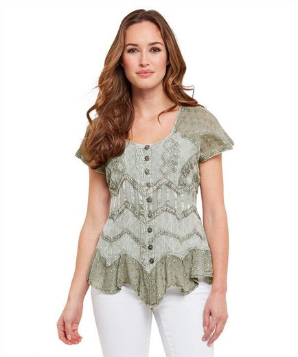Joe Browns Kurzarmbluse Joe Browns Womens Cap Sleeve Blouse With Embellished Front And Tie Back