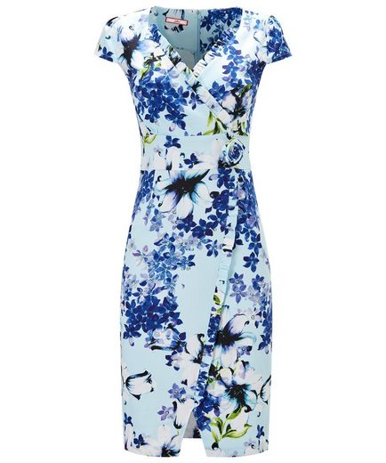 Joe Browns Wickelkleid Joe Browns Womens Short Sleeve Wrap Style Tea Dress with Floral Corsage