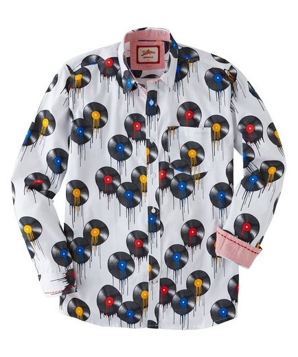 Joe Browns Langarmhemd Joe Browns Mens Long Sleeve Shirt with Vinyl Record Print
