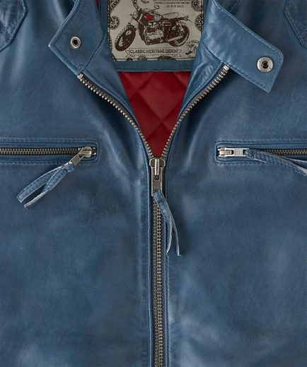 Joe Browns Lederjacke Joe Browns Mens Real Leather Biker Style Zip Up Jacket With Diamond Padded Shoulders