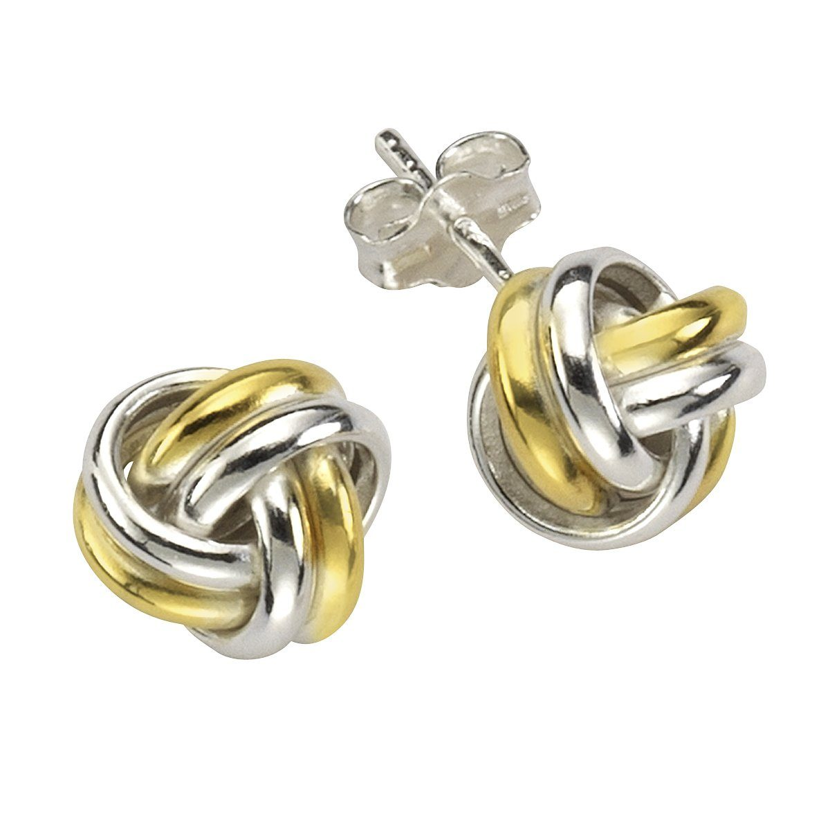 Firetti Ohrstecker »925/- Sterling Silber rhodiniert Knoten bi-color«
