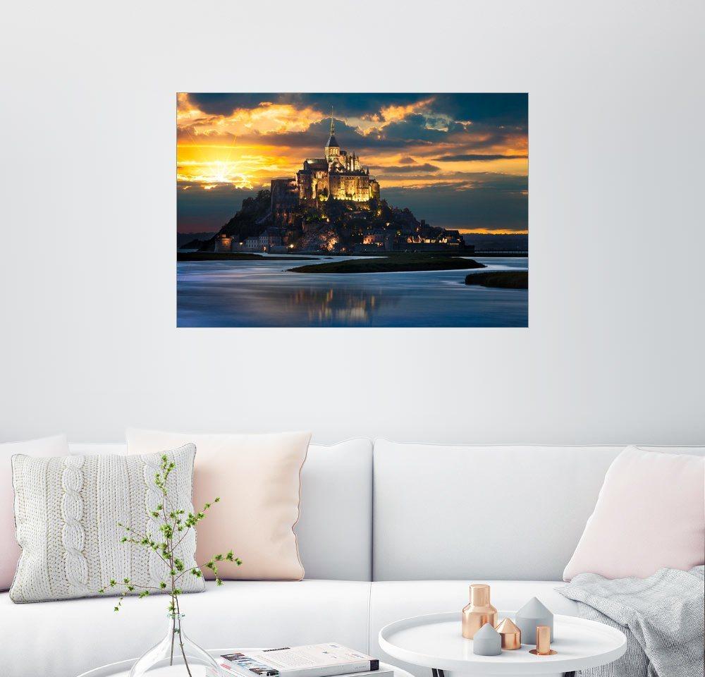 Posterlounge Wandbild »Le Mont-Saint-Michel bei Sonnenuntergang« | Dekoration > Bilder und Rahmen > Bilder | Bunt | Posterlounge