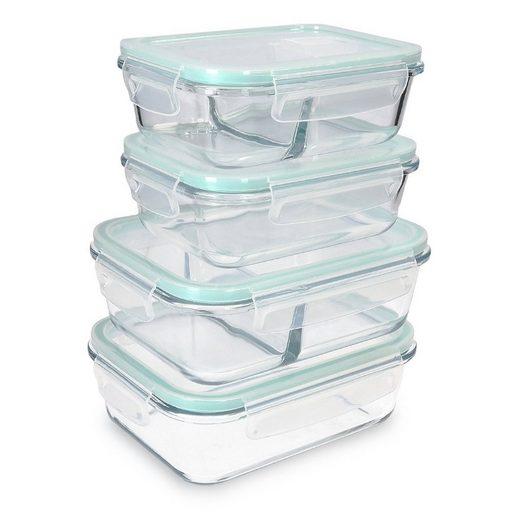 Navaris Frischhaltedose, Borosilikatglas, (4-tlg), Set mit Deckel - 4x Glas Vorratsdosen in 2 Größen - auslaufsicher hitzebeständig kältebeständig - Glasbehälter Boxen