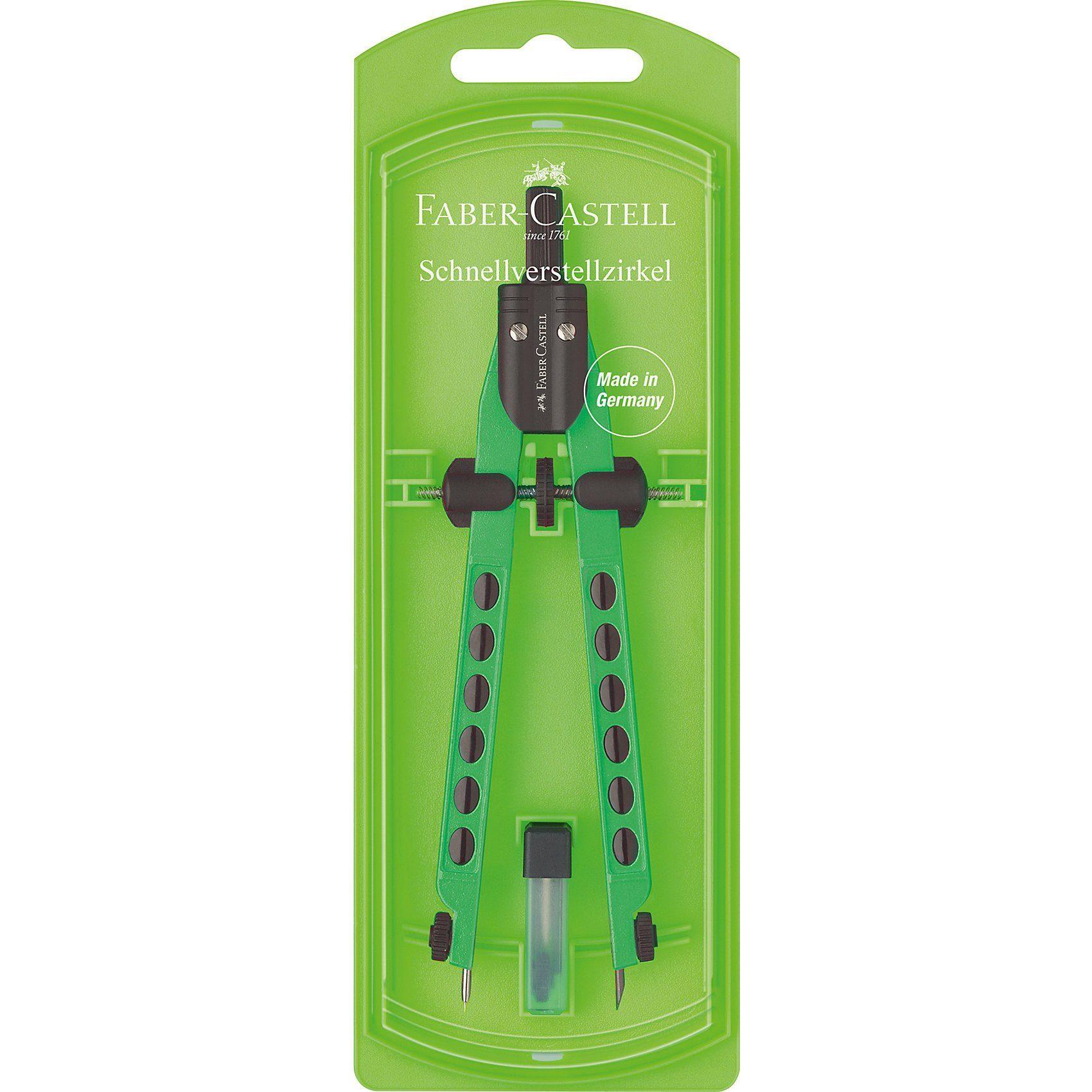Faber-Castell Schnellverstellzirkel FACTORY, neon, sortiert