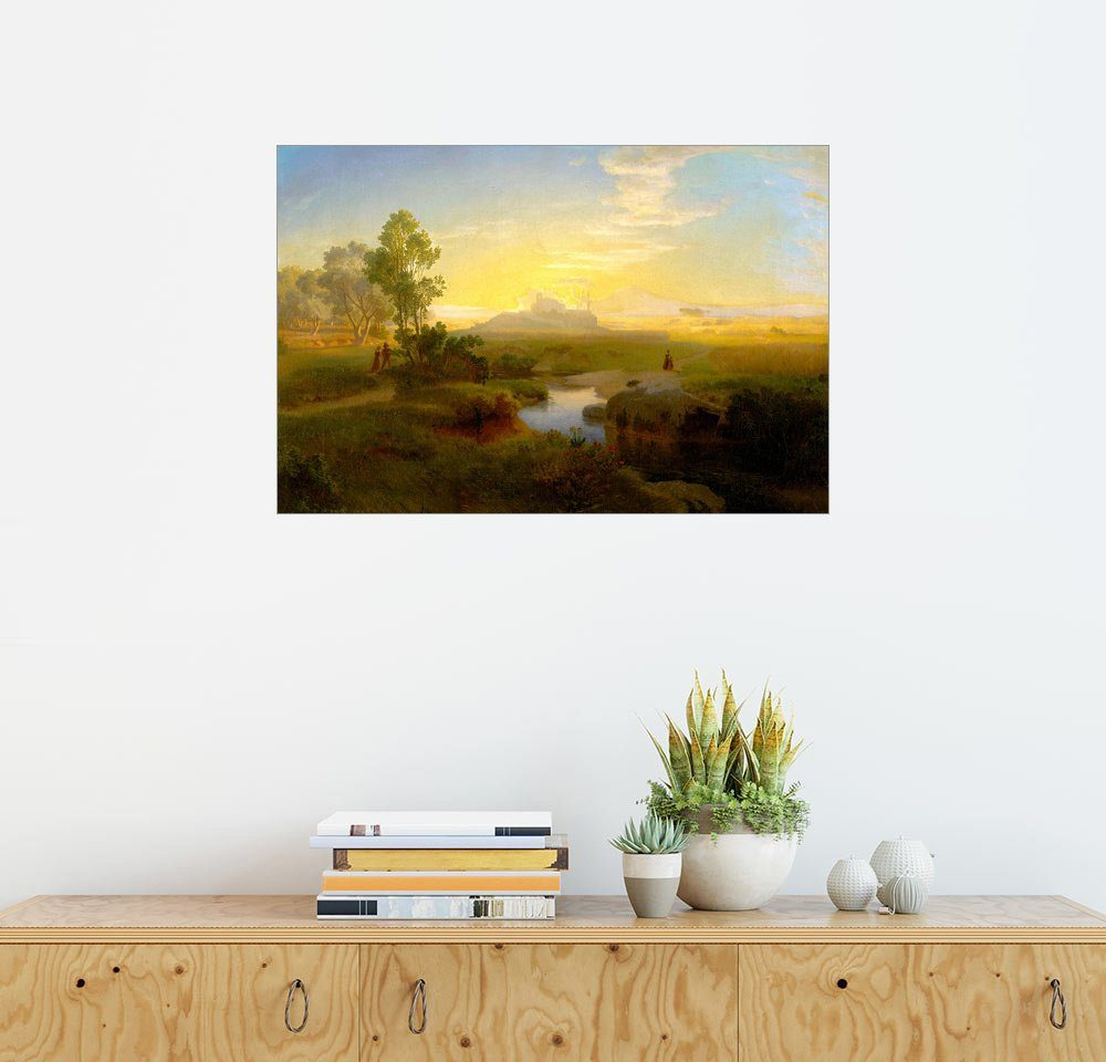 Posterlounge Wandbild - Oswald Achenbach »Abendliche Landschaft mit einem im Gegenlicht...«