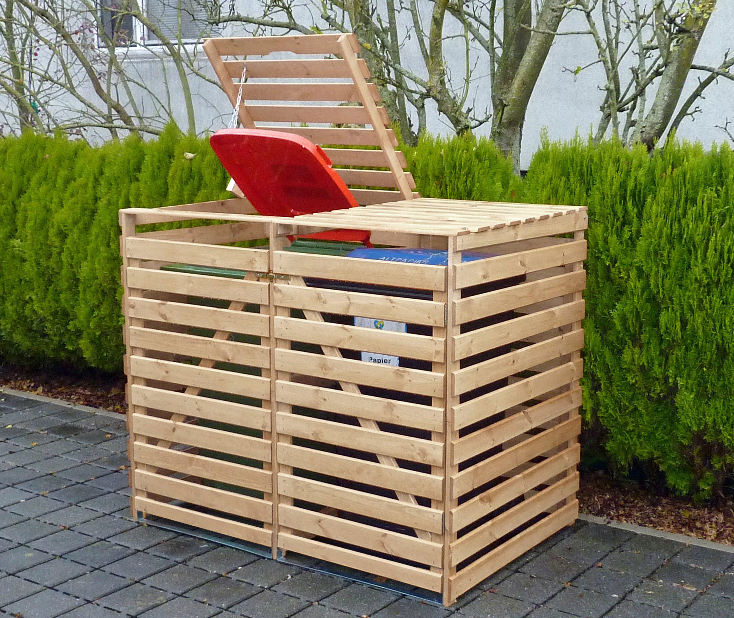 PROMADINO Mülltonnenbox »Vario V«, für 2 x 240 l, holzfarben