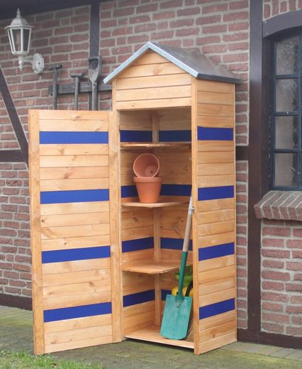 PROMADINO Geräteschrank »CYO«, BxTxH: 74x50x196 cm, honigbraun/blau